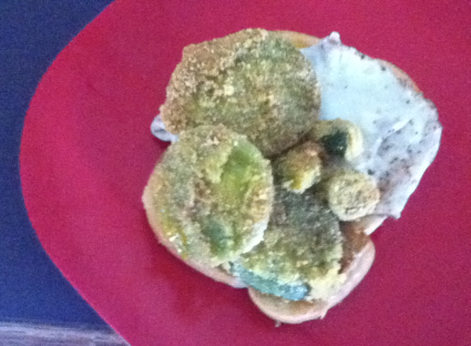 Fried Green Tomatoes, Fried Okra, and Eggs Over Easy on Toast