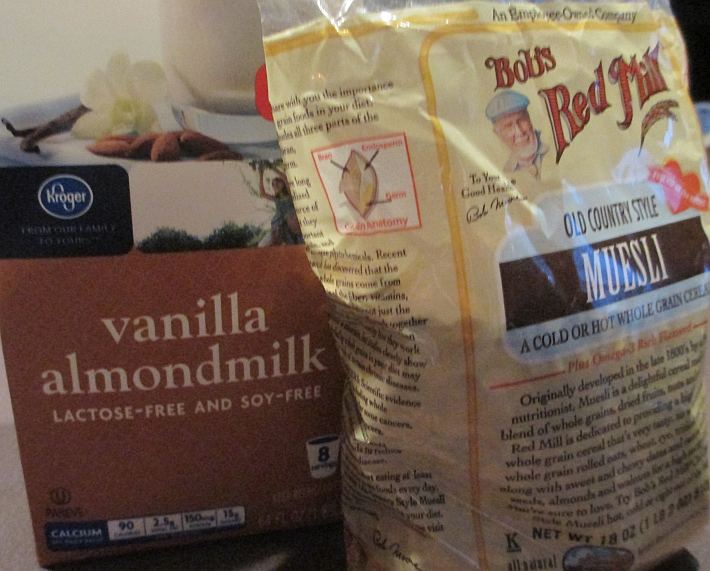 Bob's Red Mill Muesli and Vanilla Almond Milk