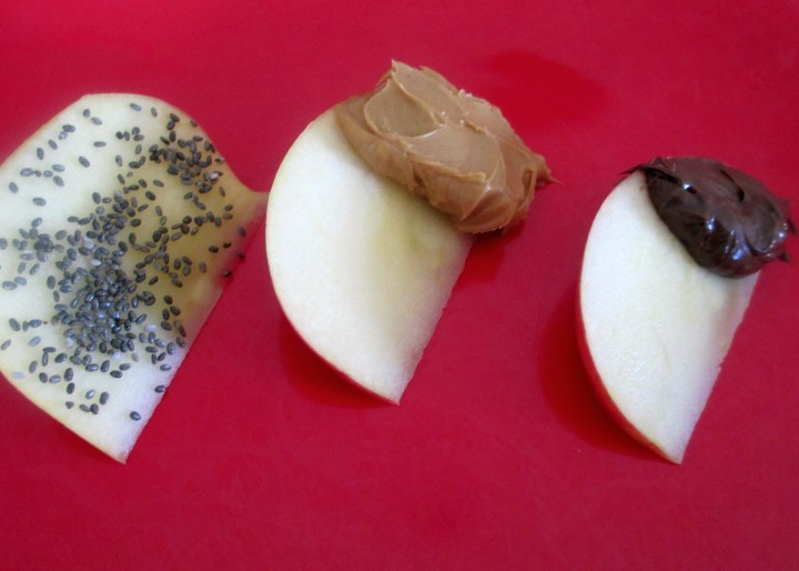 Lady Alice Apple Slices with Chia Seeds Peanut Butter and Jif Hazelnut Spread