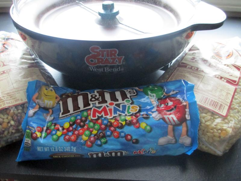 West Bend Stir Crazy Popcorn Popper, Mini M&M's, and Amish Popcorn