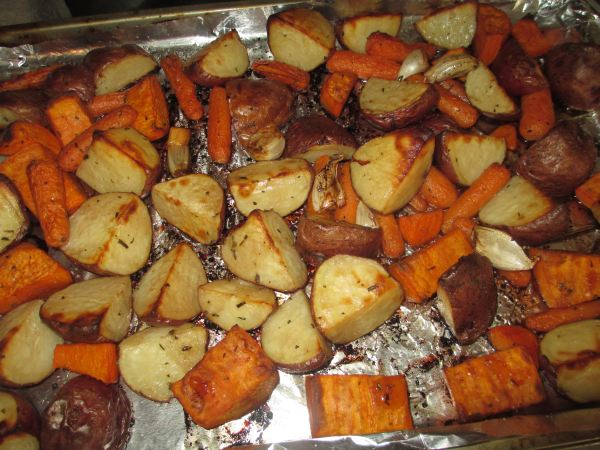 Roasted Potatoes, garlic, and Carrots