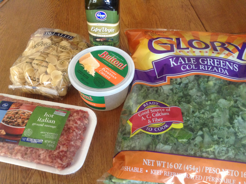 Ingredients for Orecchiette with Sausage and Kale