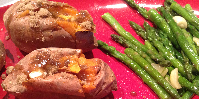 Baked Sweet Potatoes and Asparagus