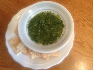 Mint Chutney and GF Crackers