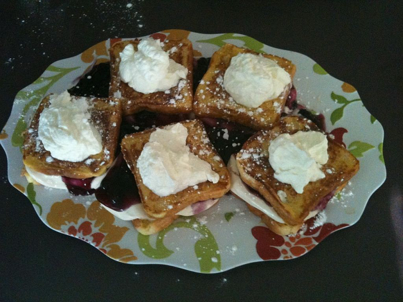 Stuffed French Toast with Homemade Whipped Cream