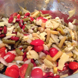 Bean Salad with Grape Tomatoes and Chopped Artichoke Hearts
