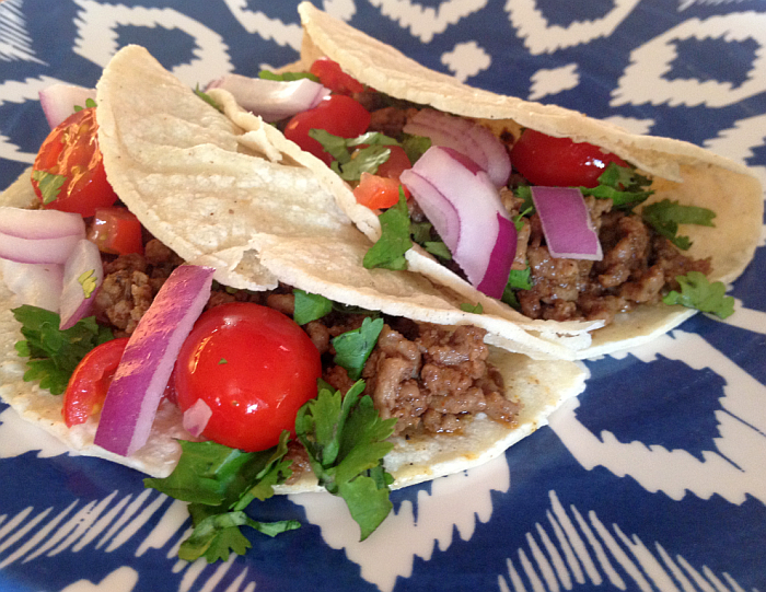 Spicy Beef Tacos with Fresh Salsa from 5 in 5 for Every Season