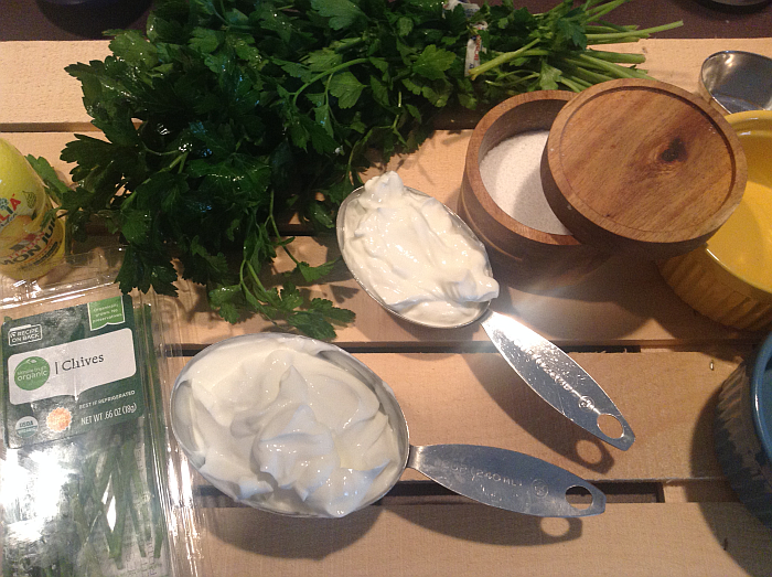 Greek Yogurt and Ingredients for Dip