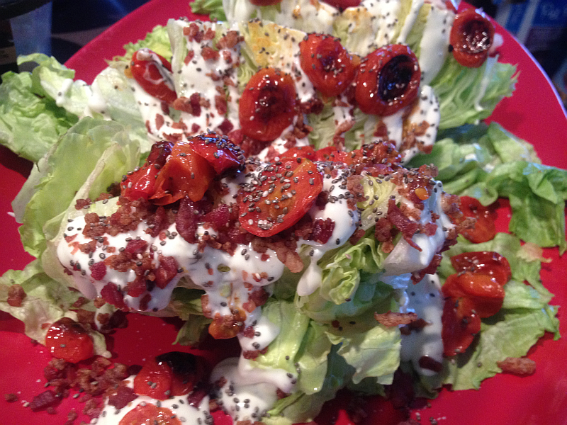 Wedge Salad with Roasted Tomatoes and Bacon