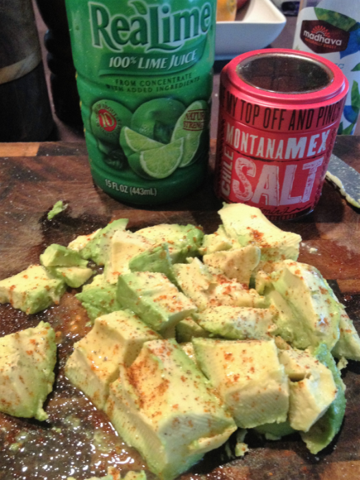 Avocado with Lime Juice and Montana Mex Chile Salt