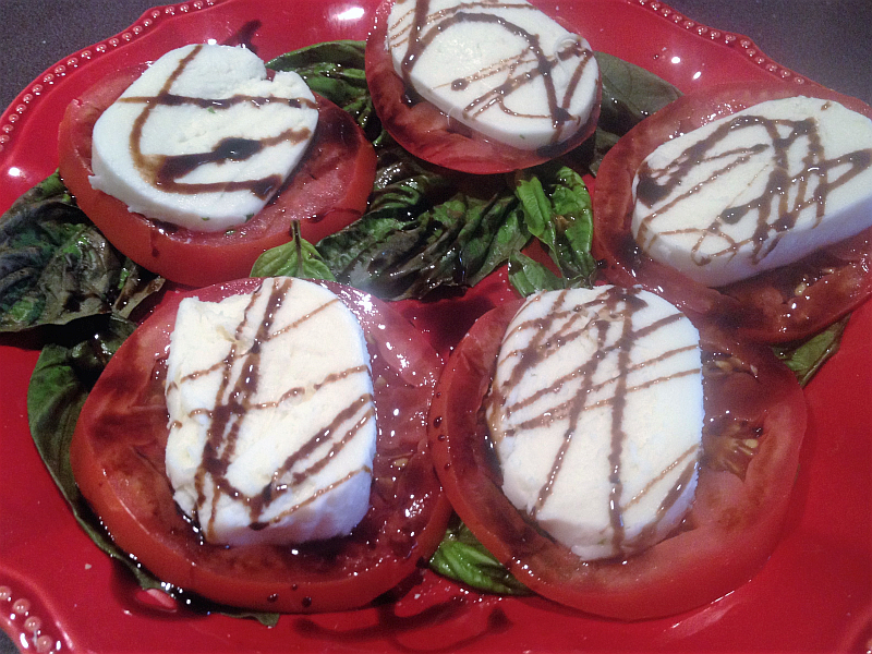 Balsamic Vinegar Drizzled Tomato, Mozzarella, and Basil Appetizer