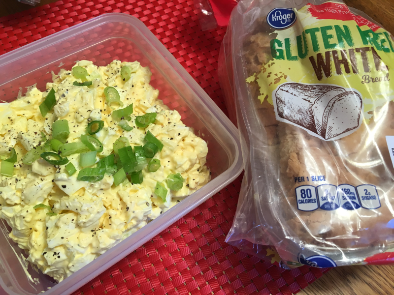 Kroger Gluten Free Bread and Egg Salad