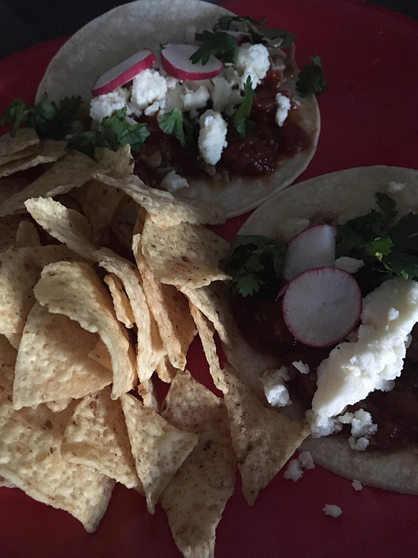 Pork Tacos with Sliced Radishes and Cilantro