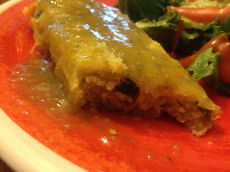 Salsa Verde on a CedarLane Sweet Corn Tamale