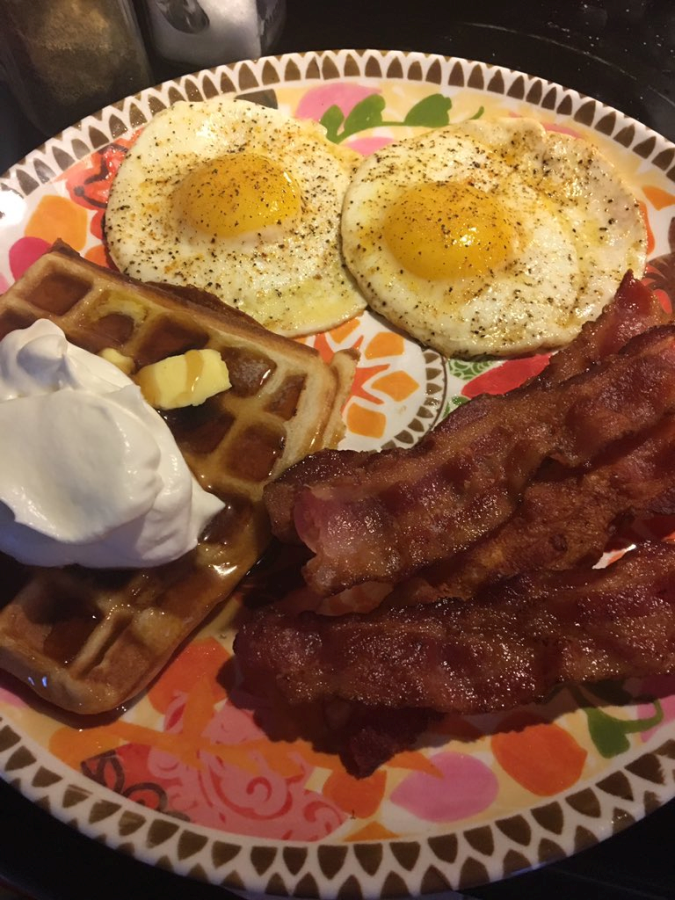 Eggs, Bacon and Gluten Free Blueberry Waffles
