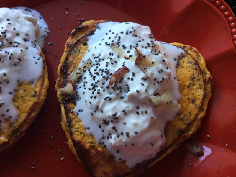 Roasted Sweet Potato Pancakes with Apple Whipped Topping