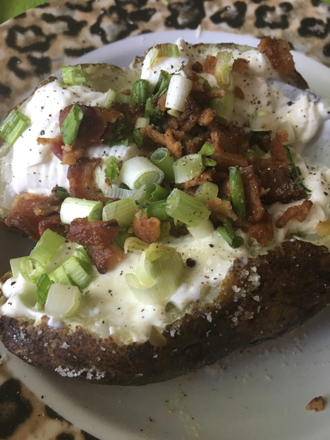 Loaded Salt Crusted Baked Potato