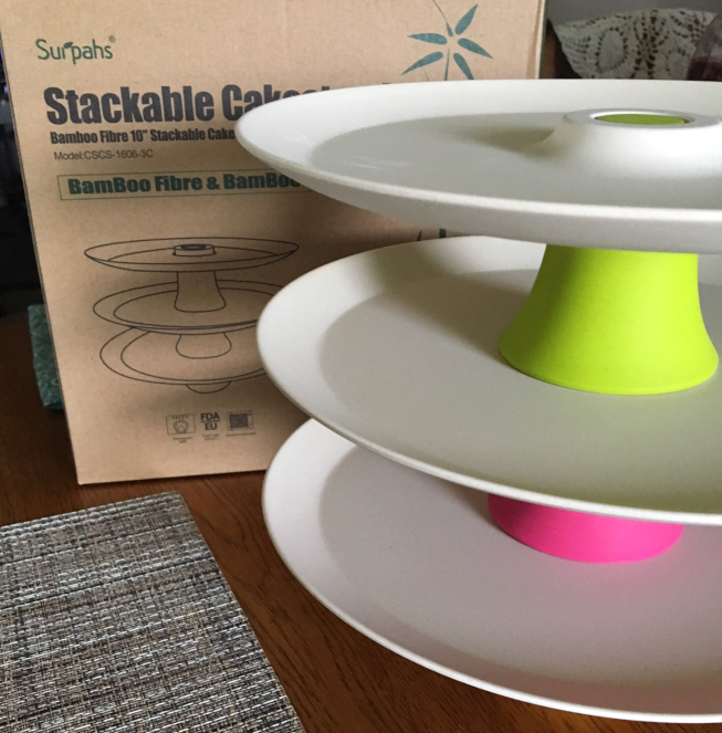 Surpahs Stackable Bamboo Cake Stand