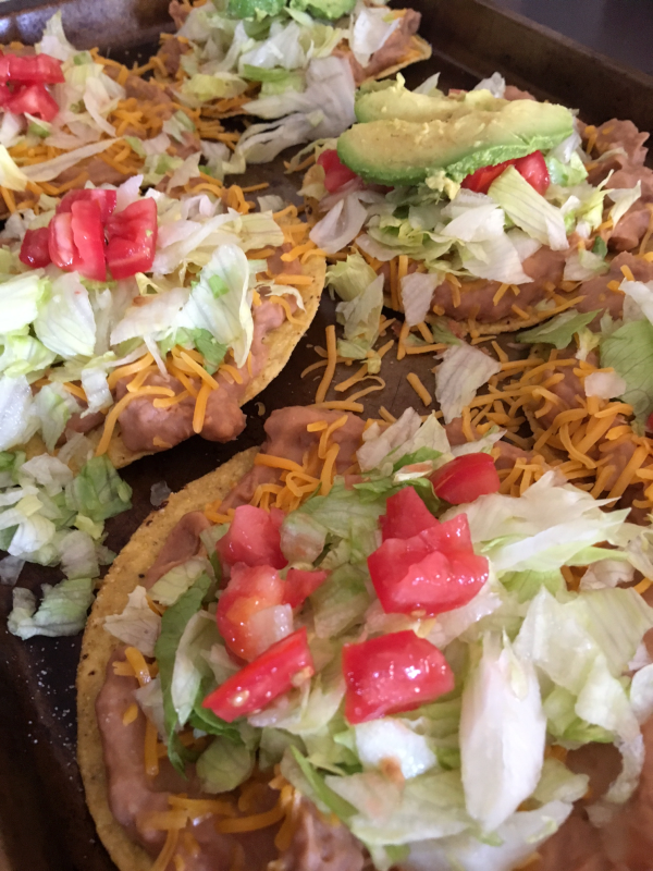 Tostadas with Refried Beans and Tomatoes