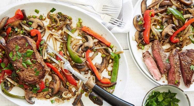 Balsamic Mushroom Pepper Steaks