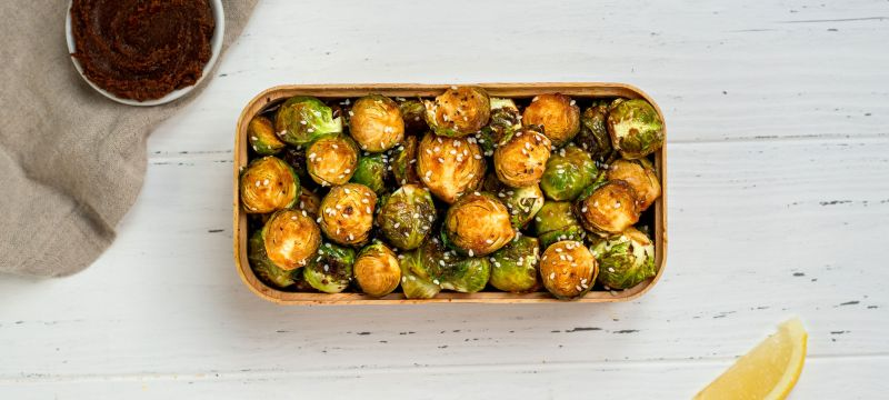 Vegan Keto Lemon Miso Roasted Brussels Sprouts
